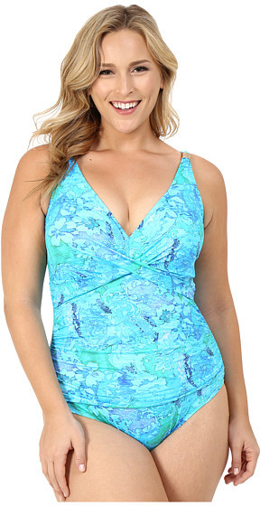 Lauren Ralph LaurenLAUREN Ralph Lauren Plus Size Oceania Floral Over the Shoulder Twist Shirred Mio w/ Slimming Fit & Removable Cups