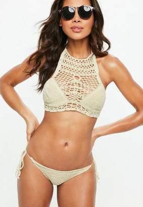 Missguided Beige High Neck Tie Side Crochet Bikini Set, White