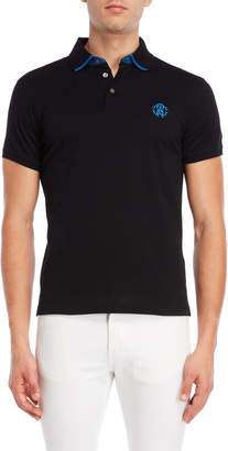 Roberto Cavalli Striped Collar Logo Polo