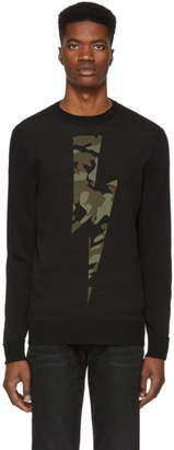 Neil Barrett Black Camo Lightning Bolt Sweater