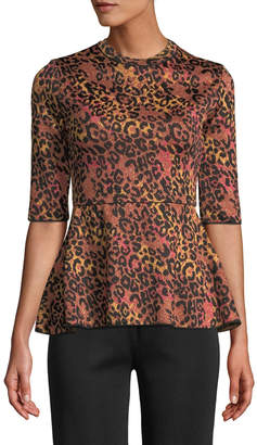 M Missoni Metallic Animal-Print Peplum Top