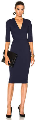 Victoria Beckham Microbrush Cotton Mid Sleeve V Neck Fitted Dress