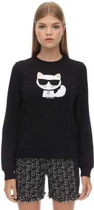 Karl Lagerfeld Paris Embellished Cotton Sweatshirt