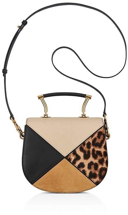 Anne Klein Top Handle Calf Hair & Leather Saddle Bag