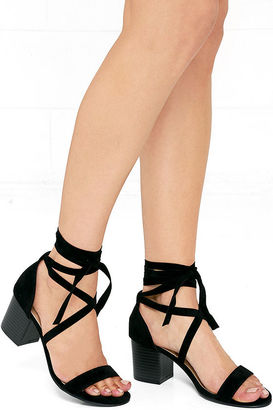 This Moment Black Suede Lace-Up Heels $31 thestylecure.com