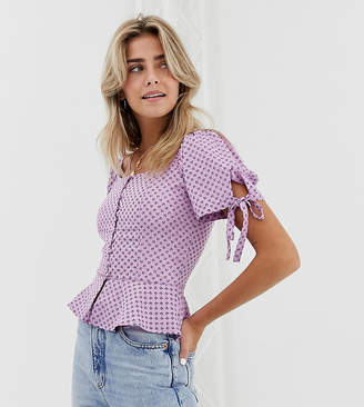 Wednesday's Girl square neck blouse with button front and ruched sleeves