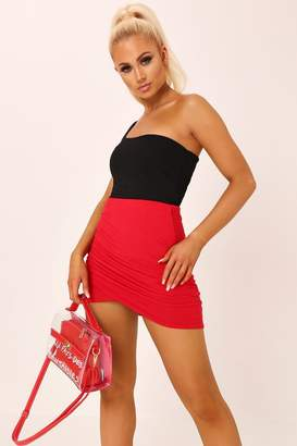 216088d15 I SAW IT FIRST Red Wrap Ruched Mini Skirt