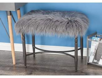 Cole & Grey Metal Faux Fur Accent Stool