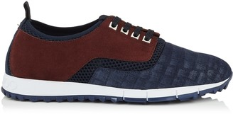 Jimmy Choo JENSON Navy and Bordeaux Crocodile Print Denim Leather and Suede Trainers