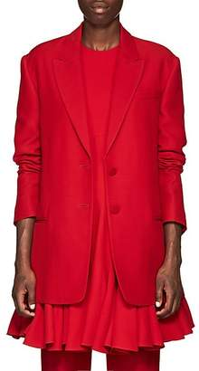 Valentino Women's Silk-Wool Two-Button Blazer - Red