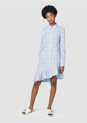 Derek Lam 10 Crosby Long Sleeve Shirtdress With Ruffle Hem