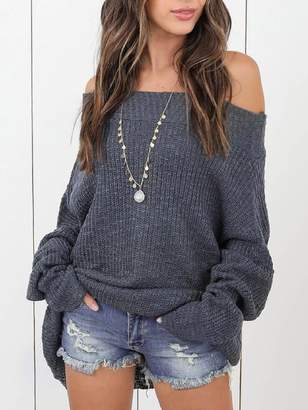 Goodnight Macaroon 'Nana' Off The Shoulder Loose Knit Slouchy Sweater (5 Colors)