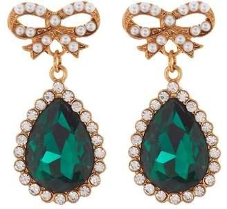 Free Press Faux Pearl Bow Stud & Stone Drop Earrings