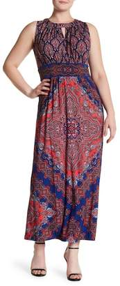 London Times Medallion Patterned Maxi Dress (Plus Size)