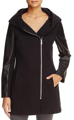 Calvin Klein Hooded Faux Leather Trim Jacket