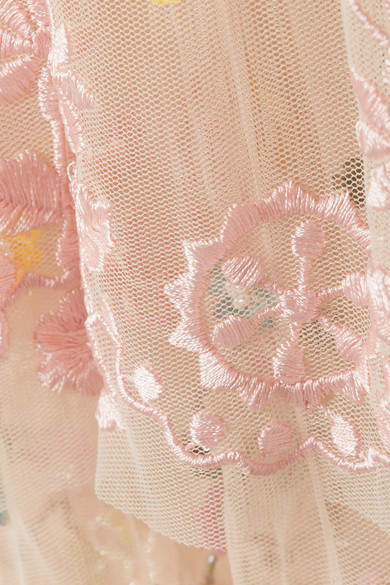 Needle & Thread Anglais Tiered Embellished Tulle Mini Dress - Baby pink