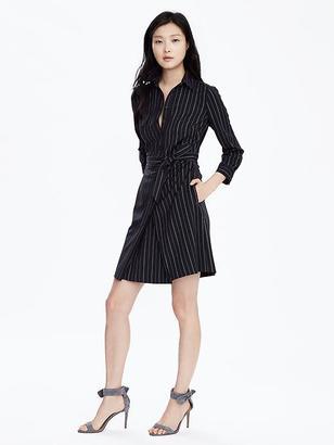 Pinstripe Tie-Waist Shirtdress $138 thestylecure.com