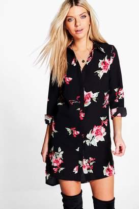 boohoo Floral Print Shirt Dress