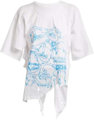 CHARLES JEFFREY LOVERBOY Asymmetric-hem graphic-print cotton T-shirt