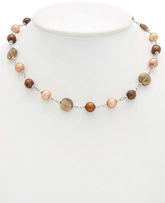 Honora Silver Smoky Quartz & 5-10Mm Pearl Necklace