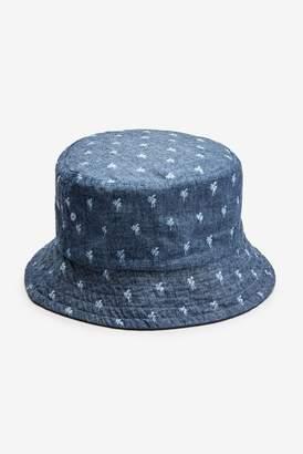 4c35d3a6 Next Mens Navy Palm Tree Reversible Bucket Hat - Blue