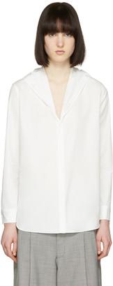 Yohji Yamamoto Off-White Hooded Poplin Shirt $810 thestylecure.com