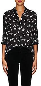 L'Agence Women's Nina Star-Print Silk Blouse - Black