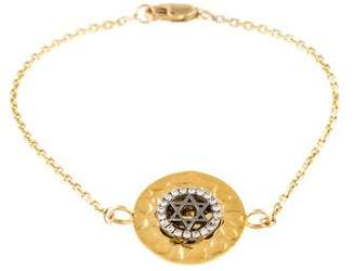 14K Diamond Star of David Medallion Charm Bracelet