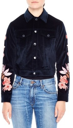 Women's Sandro Embroidered Crop Velvet Jacket $645 thestylecure.com