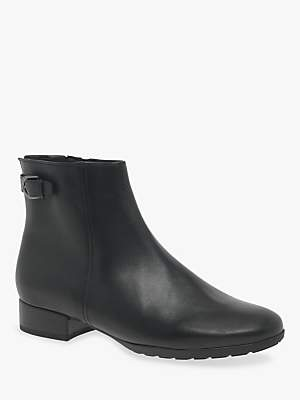 Gabor Partner Extra Wide Fit Leather Ankle Boots, Black