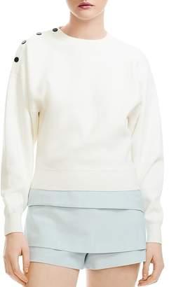Maje Marlina Cropped Shoulder-Snap Sweater