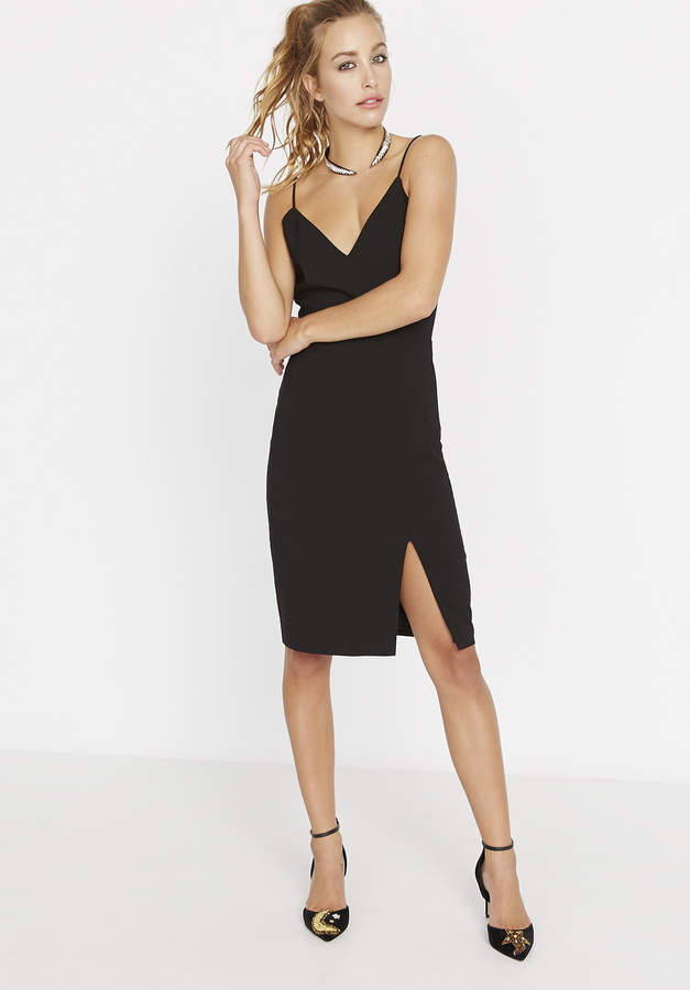Spaghetti Strap V Neck Dress W Slit