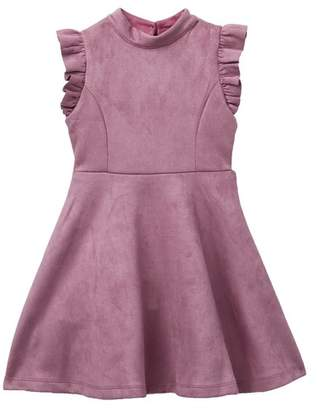 AVA AND YELLY Techno Faux Suede Skater Dress (Little Girls)