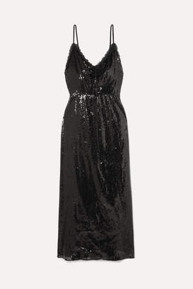 Miu Miu Open-back Lace-trimmed Sequined Crepe Midi Dress - Black