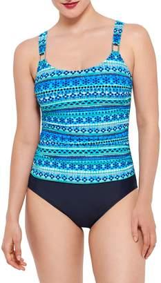 Christina Blue Printed 1-Piece Swimsuit