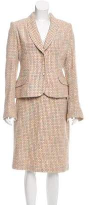 Christian Lacroix Tweed Shawl Collar Skirt Suit