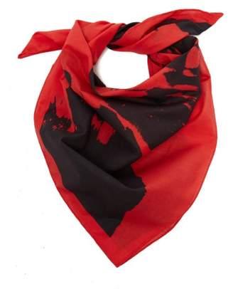 Calvin Klein Stephen Sprouse Print Cotton Bandana Scarf - Womens - Red
