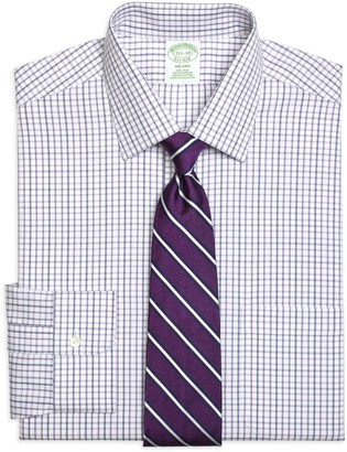 Brooks Brothers Milano Slim-Fit Dress Shirt, Non-Iron Triple Twin Check