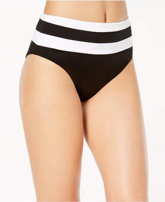 Bar III Colorblocked High-Waist Bikini Bottoms, Created for Macy's Women's Swimsuit