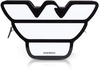 Emporio Armani Black & White Eco-leather Eagle Clutch