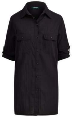 Ralph Lauren Cotton Shirtdress Cover-Up Black S