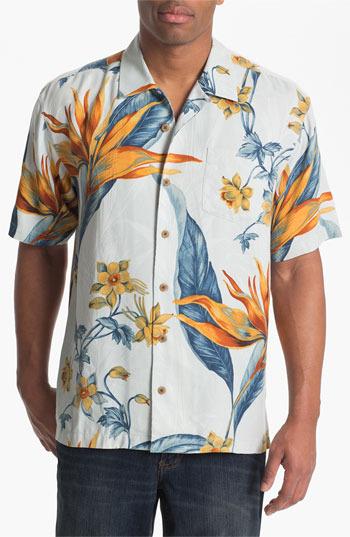 Tommy Bahama 'Florale en Fuego' Silk Campshirt (Big & Tall) Blue Mist LT
