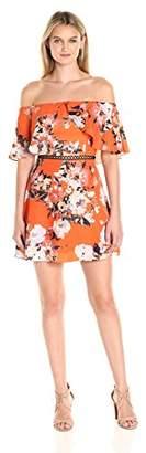 ABS by Allen Schwartz Women's Off-Shoulder Summer Floral Print Dress