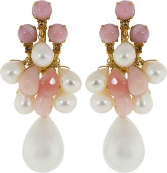 Bounkit JEWELRY Pink Opal And Pearl Shell Drop Earrings