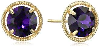 Swarovski Amazon Collection 10k Gold Made with Birthstone April Stud Earrings