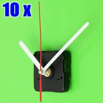 Grtsunsea 10Pcs DIY Quartz Wall Clock Movement Mechanism Short Spindle + Red & White Hands Parts New