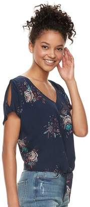 Mudd Juniors' Printed Tie-Front Top