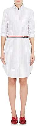 Thom Browne Women's Striped Cotton Poplin Belted Shirtdress $850 thestylecure.com