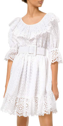 Michael Kors Eyelet-Embroidered Long-Sleeve Dirndle Dress