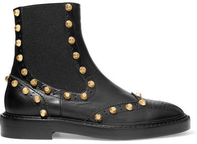 Balenciaga  Balenciaga - Studded Leather Ankle Boots - Black